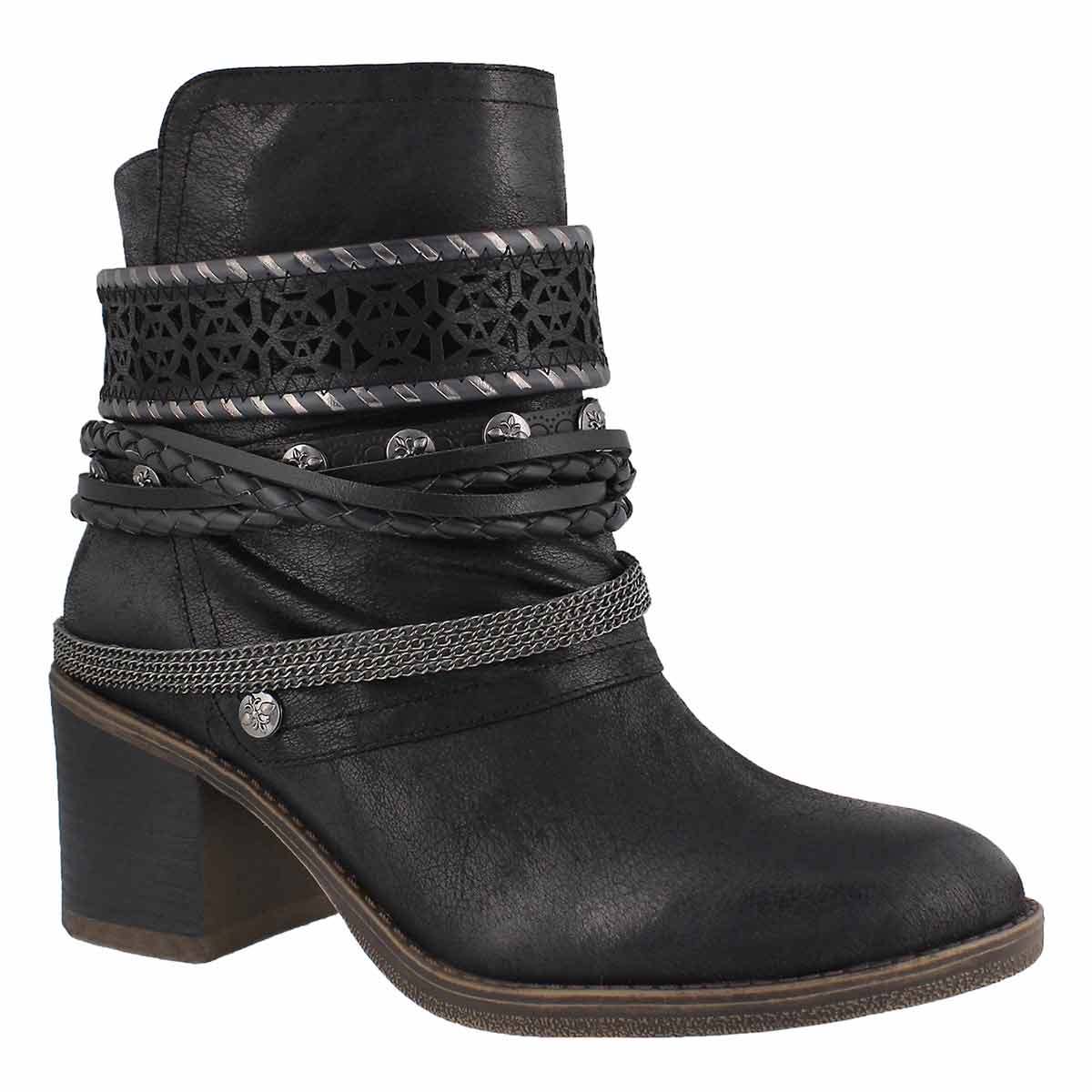 Lds Bizou 4 black casual ankle boot