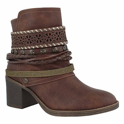 Lds Bizou 4 brown casual ankle boot