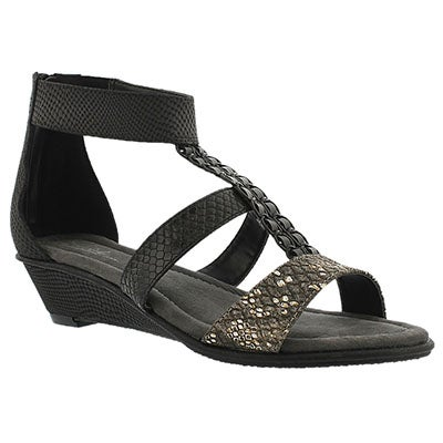 SoftMoc Women's BJORK black wedge t-strap sandals
