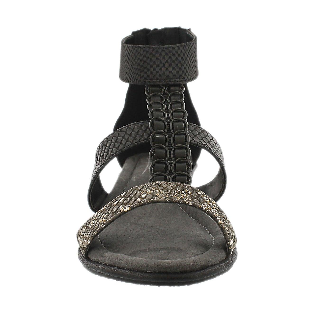 Lds Bjork blk wdg t-strap sandal