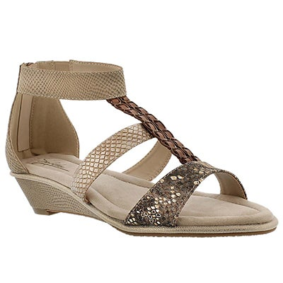 SoftMoc Women's BJORK skin wedge t-strap sandals