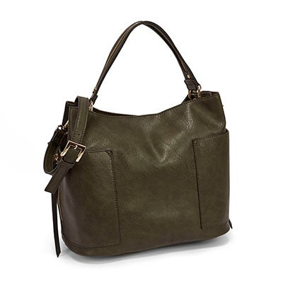 Steve Madden Women's BKOLE black/olive colour block hobo bag