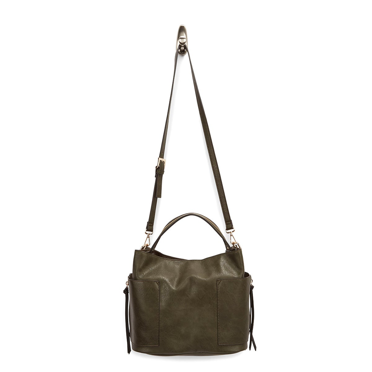 Lds BKole blk/olive colour block hobobag