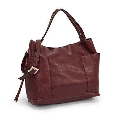 Steve Madden Women's BKOLE wine/cognac colour block hobo bag