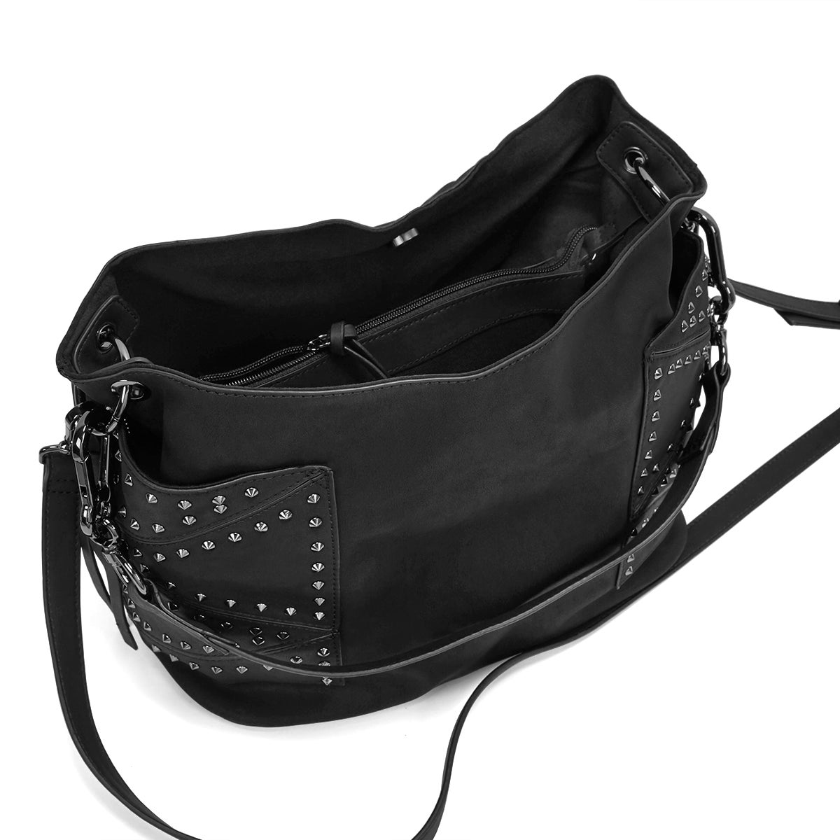 Lds BKyrah black studded hobo bag