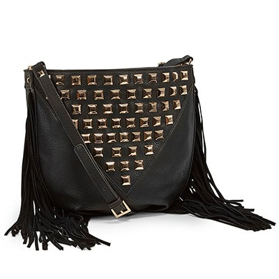 Lds BLibra black tassel hobo bag