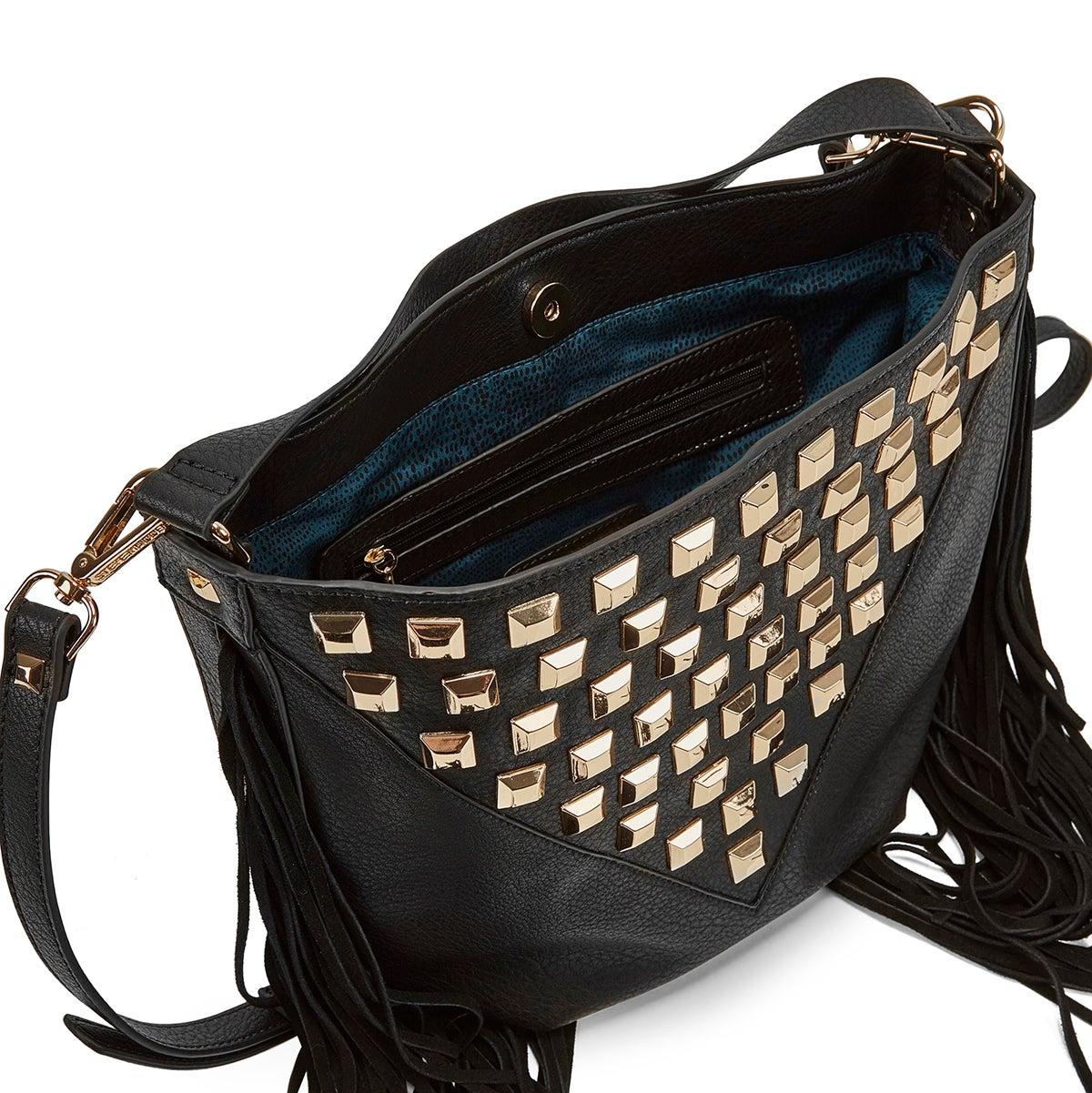 Lds BLibra black tassel hobo bag