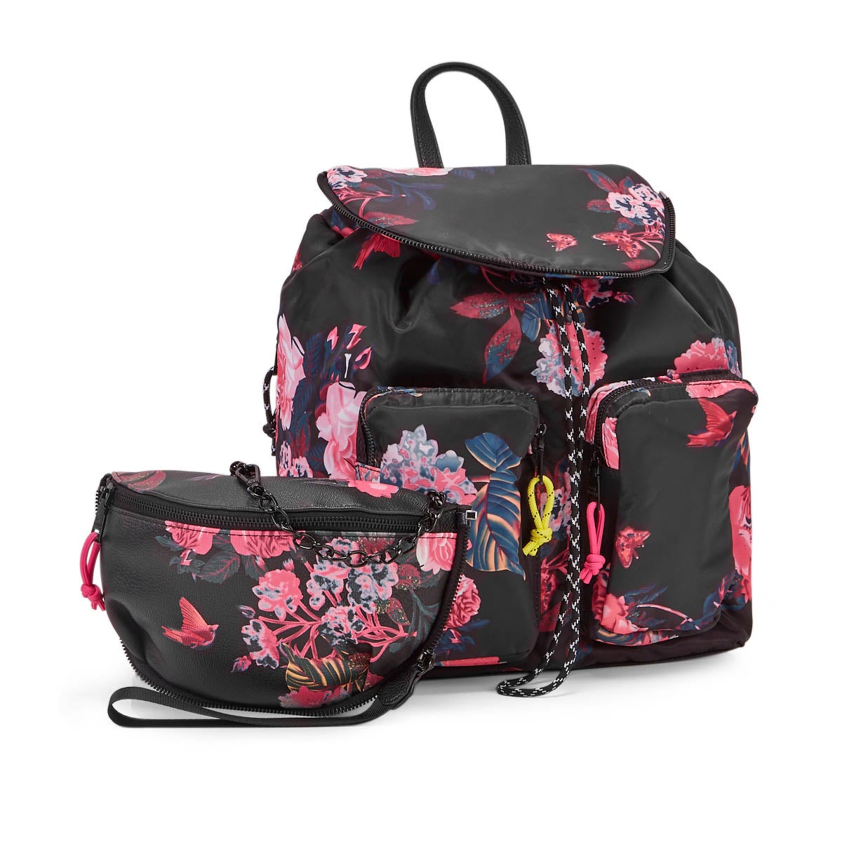 Lds BLily black/floral fashion backpack