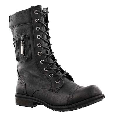 SoftMoc Women's BLISS II black lace-up combat boots