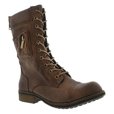 SoftMoc Women's BLISS II brown lace-up combat boots