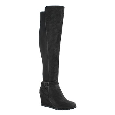 Lds Blondie Hi blk wedge knee high boot