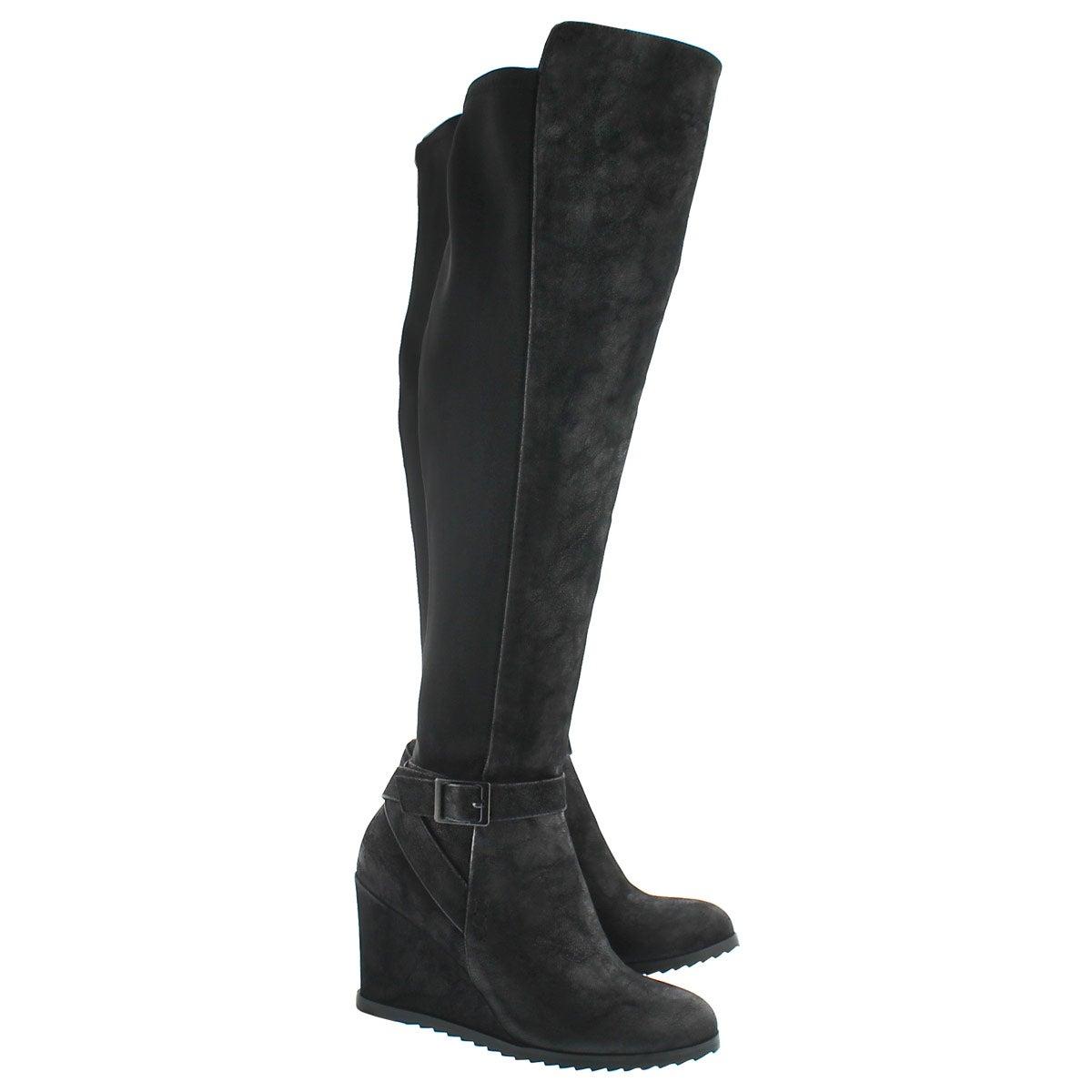 Lds Blondie Hi blk wedge knee high boot