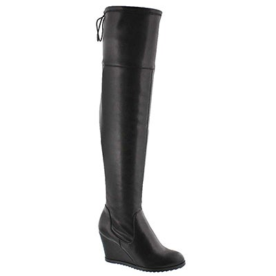Lds Blondie II blk knee high wedge boot