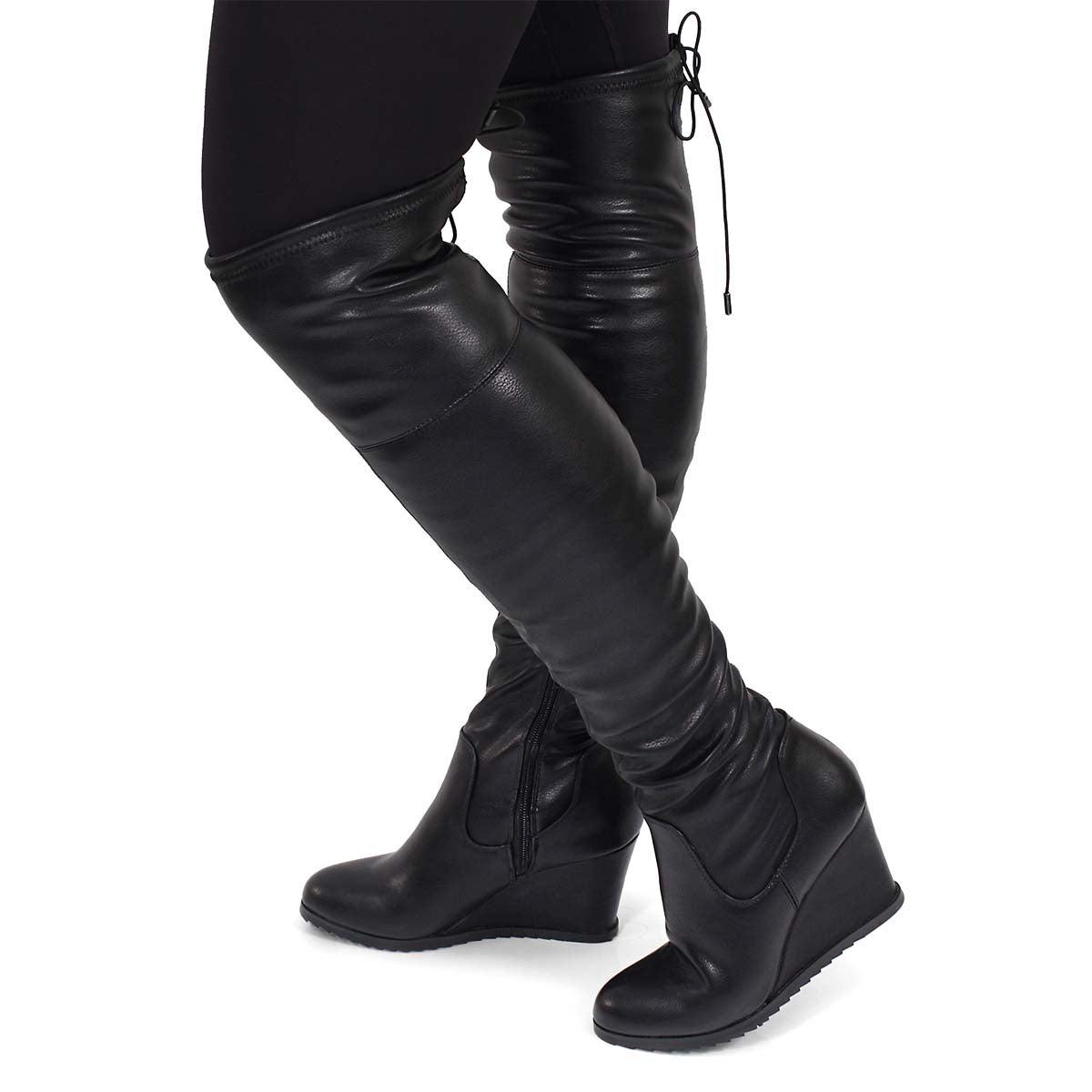 Lds Blondie II blk knee high wedge boot