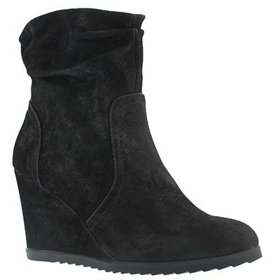 SoftMoc Women's BLONDIE LO black wedge ankle boots