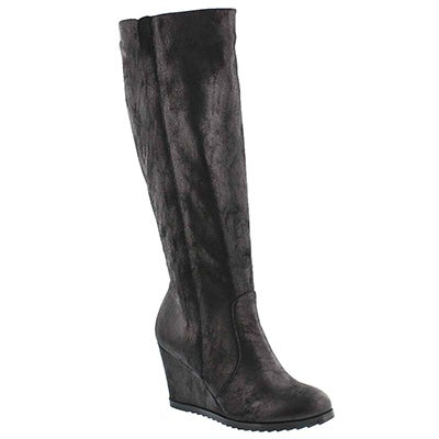 Lds Blondie Mid blk knee high wedge boot