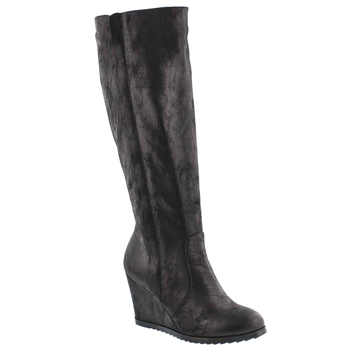 Lds Blondie Mid blk knee high wedge boot
