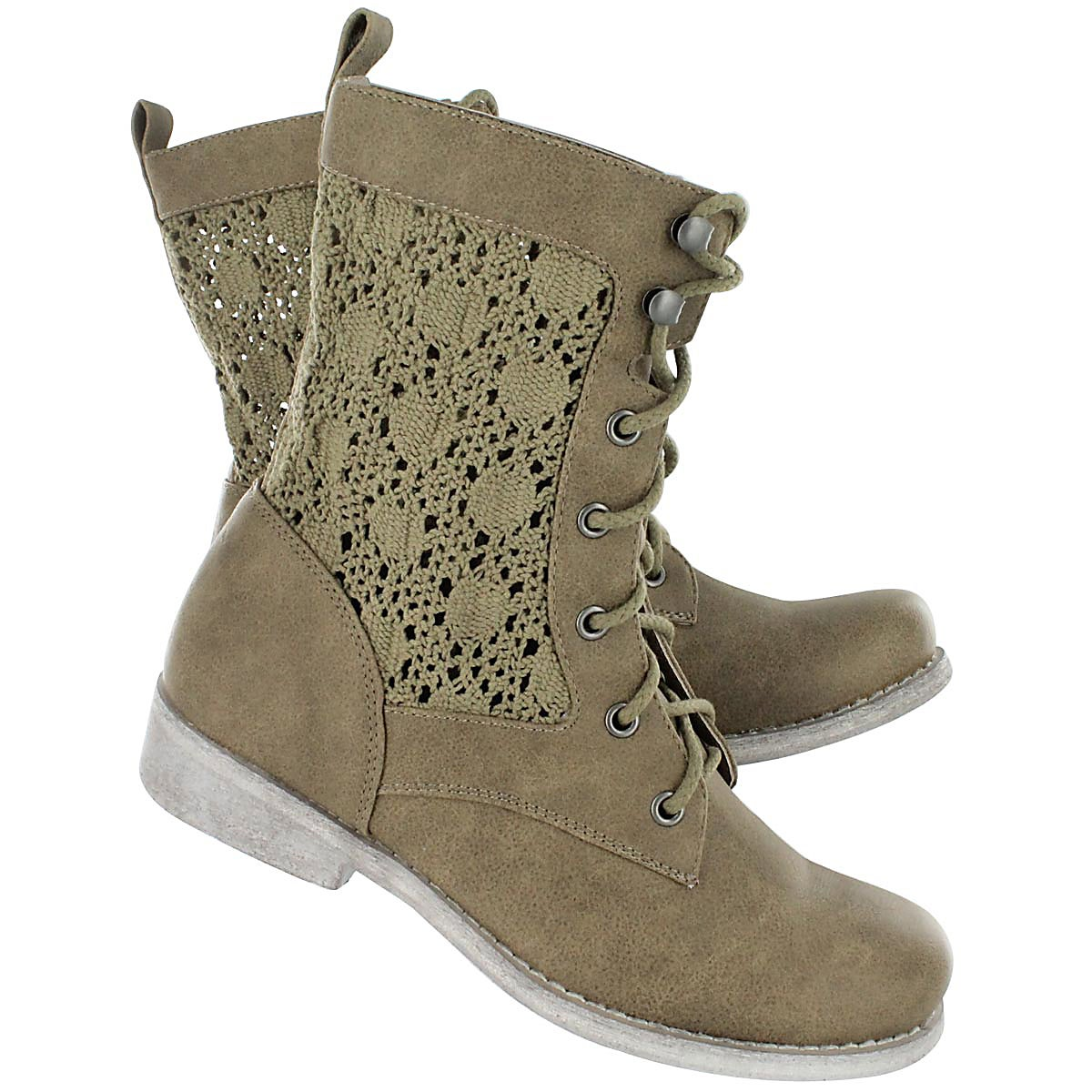 Lds Blossom sand lace up crochet boot