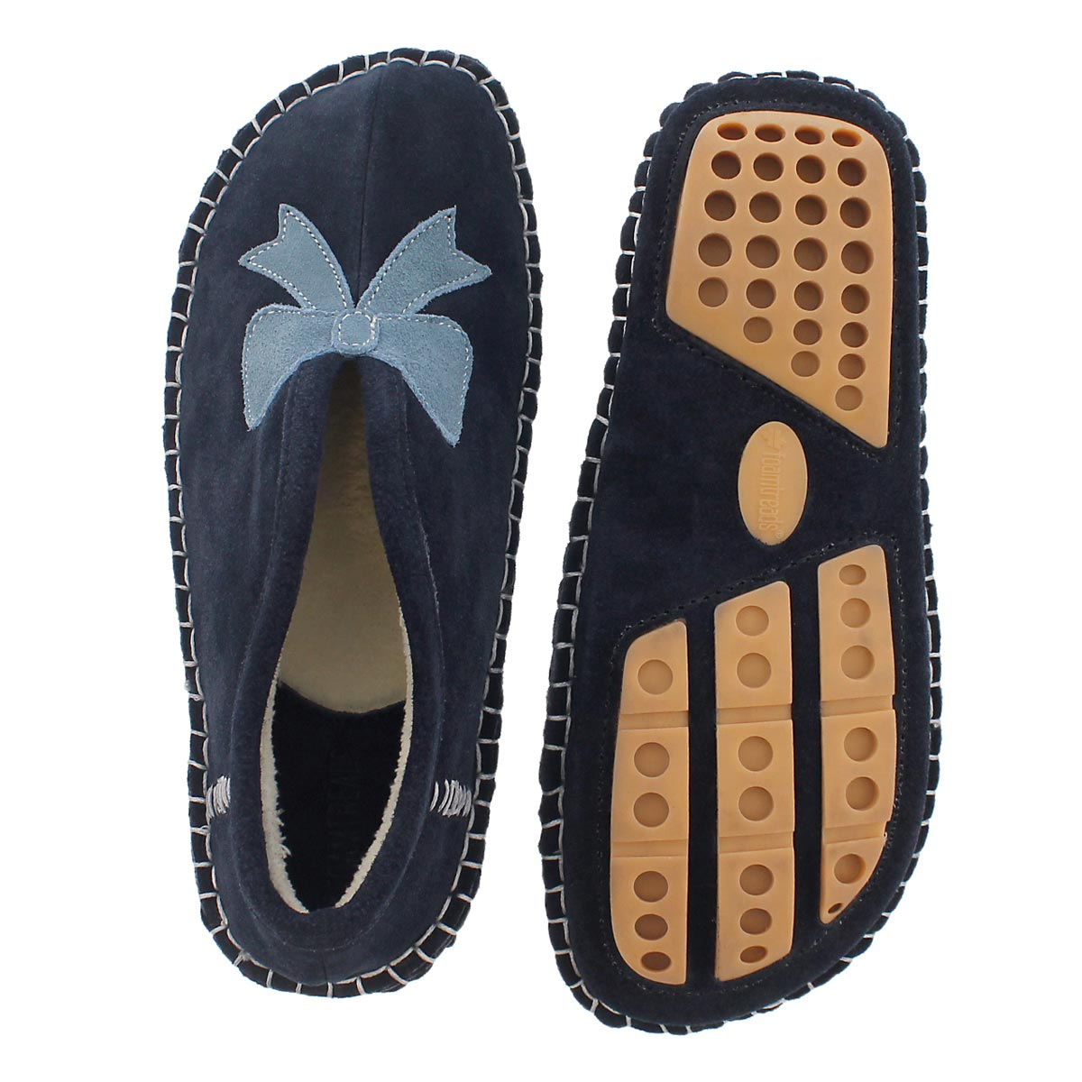 Lds Blossom navy closed back slipper