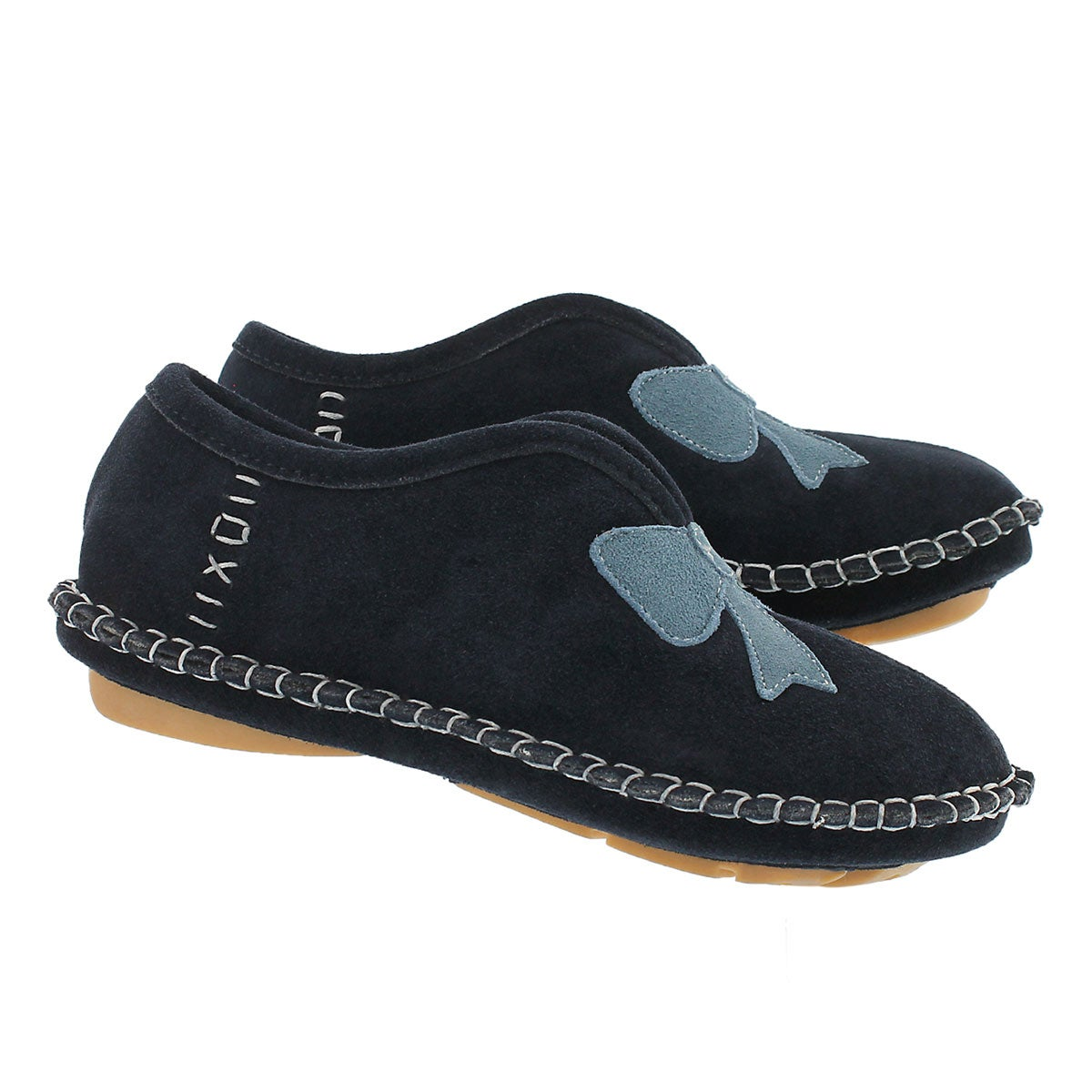 Lds Blossom navy closed back slipper