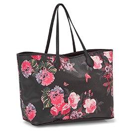 Lds BLuna blk/wht/floral tote bag