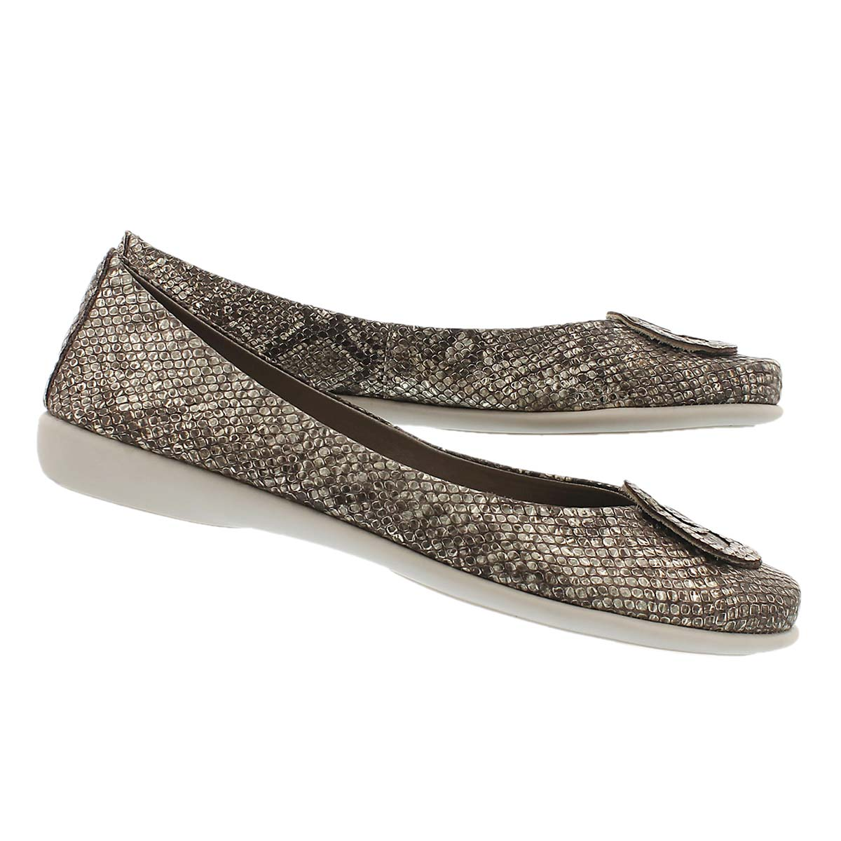 Lds Bon Bon bronze python/bge dress flat