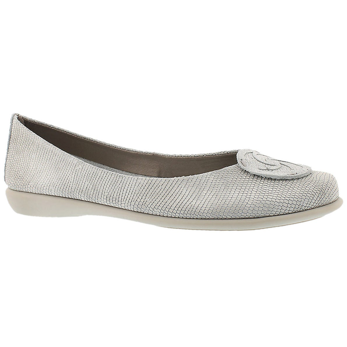 Lds Bon Bon wht/silver dress flat