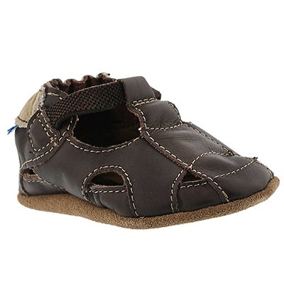 Robeez Infants' FISHERMAN SANDAL brown soft sole slippers