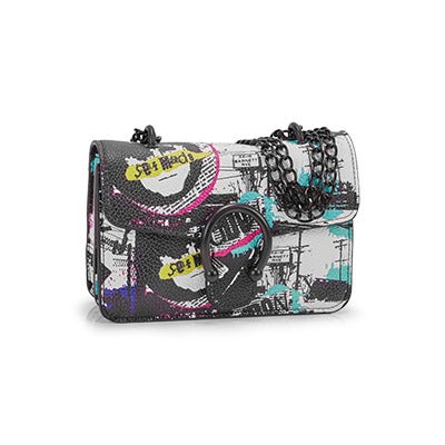 Lds BPeggy bk/mlt pop art cross body bag