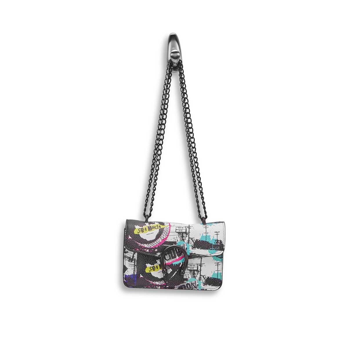 Lds BPeggy bk/mlt pop art cross body bag