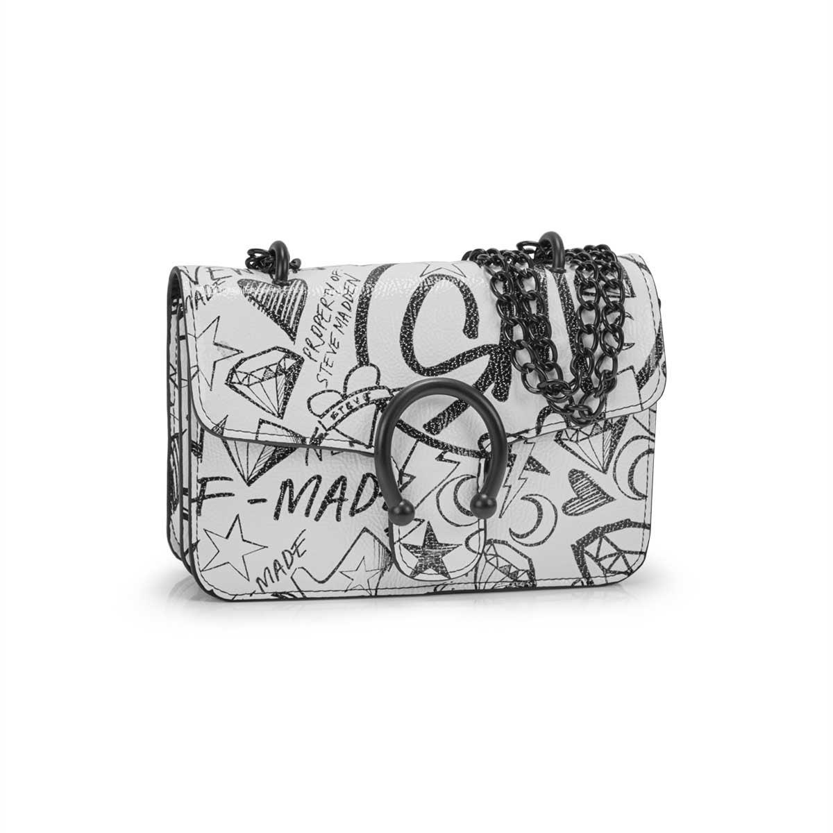 Lds BPeggy wht/blk doodle cross body bag