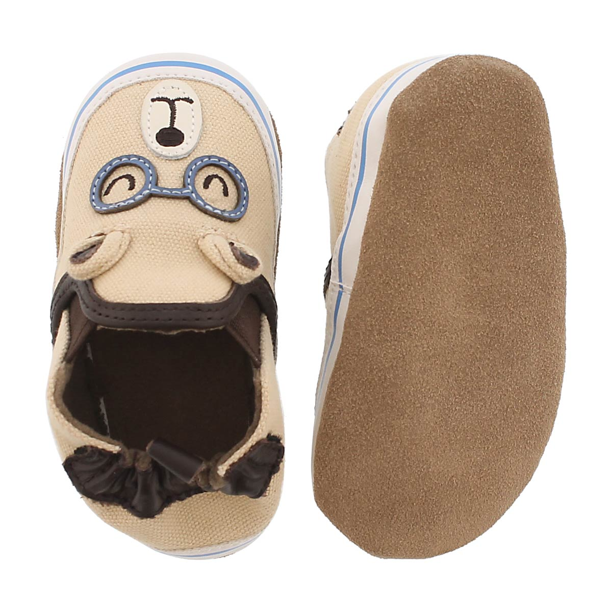 Inf Brainy Bear taupe soft sole slipper