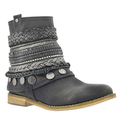 SoftMoc Women's BREANNE black braided ankle boots