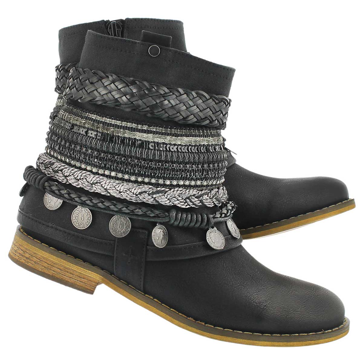 Lds Breanne black braided ankle boot