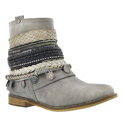 SoftMoc Women's BREANNE grey braided ankle boots
