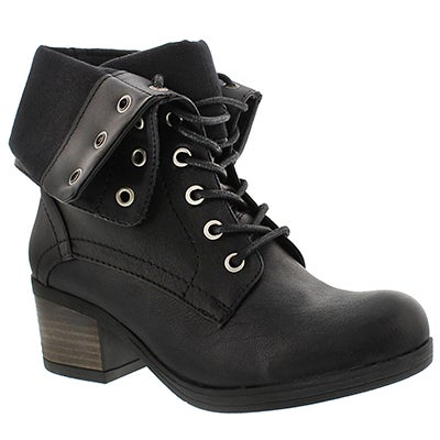 SoftMoc Women's BRIA black fold down combat boots