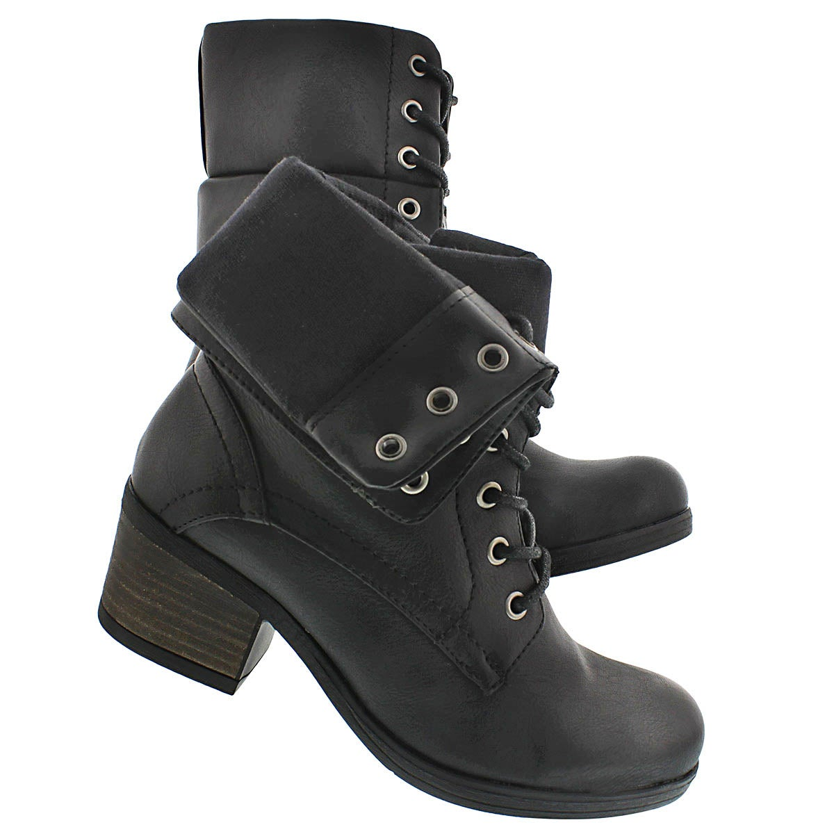 Lds Bria blk fold down combat boot