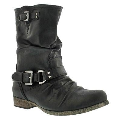 Lds Brietta black mid buckle boot