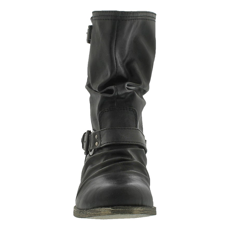 Lds Brietta black mid buckle boot