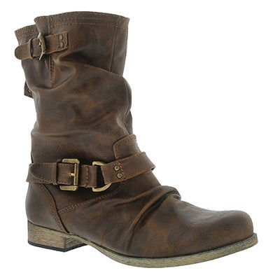 SoftMoc Women's BRIETTA cognac mid buckle boots