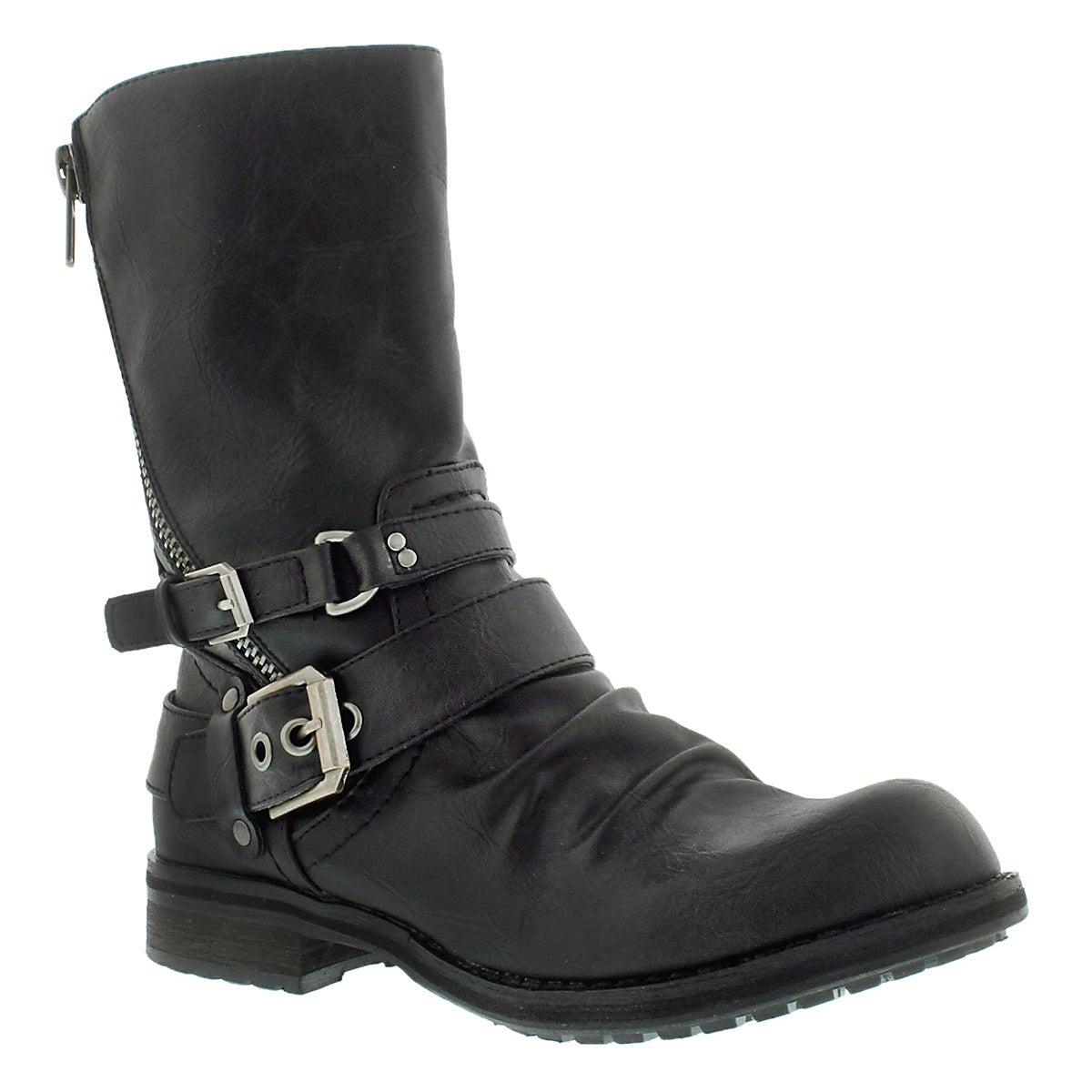Lds Brietta II black mid buckle boot