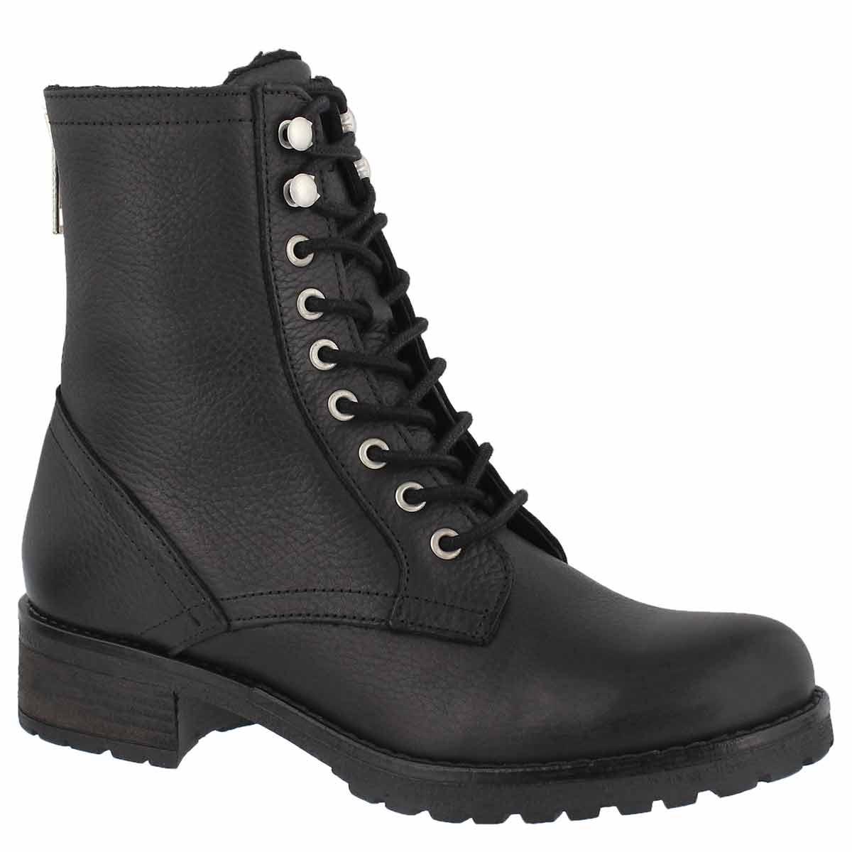 Women's BRIONNA black lace up combat boots