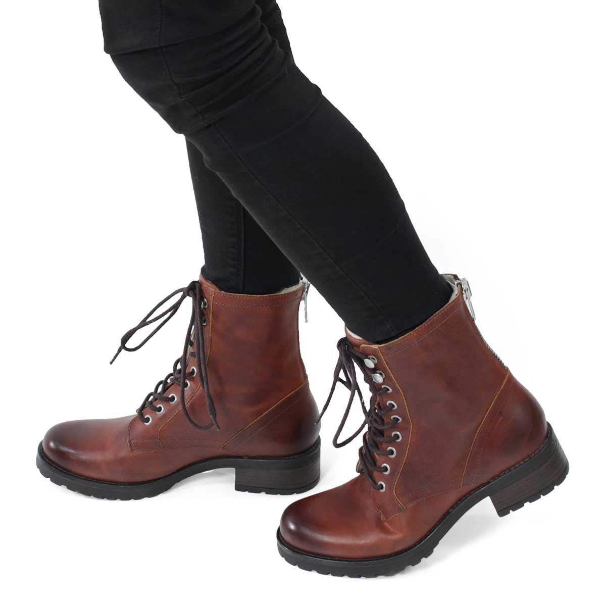 Lds Brionna cognac lace up combat boot