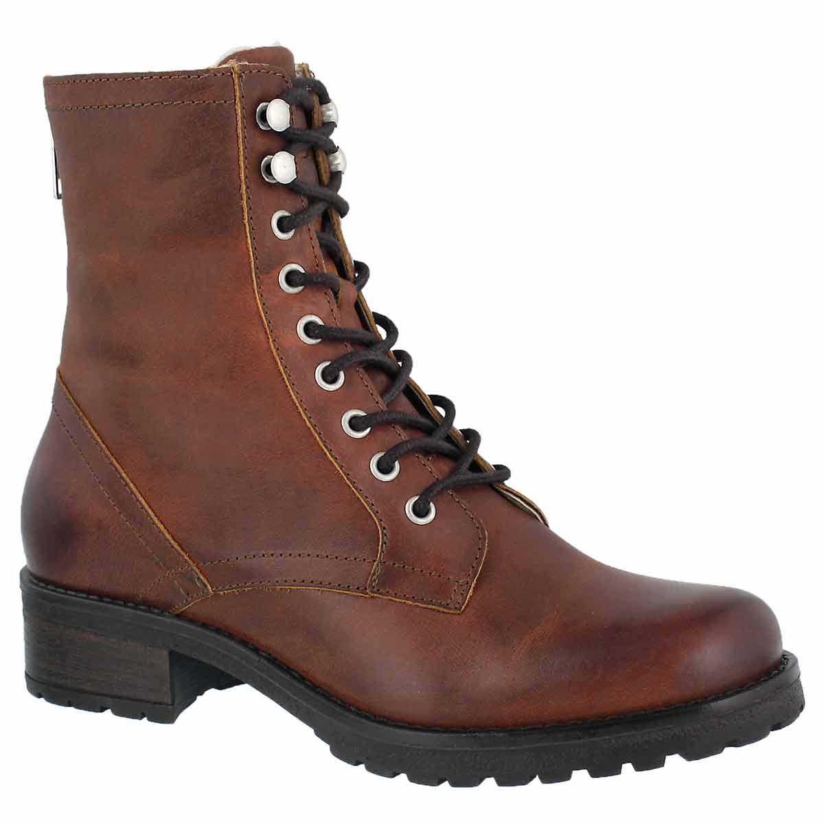 Women's BRIONNA cognac lace up combat boots