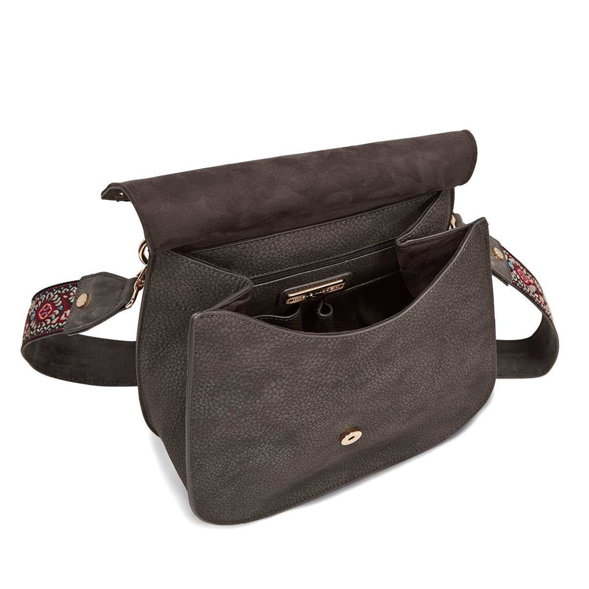 Lds BSwiss charcoal tassel saddle bag