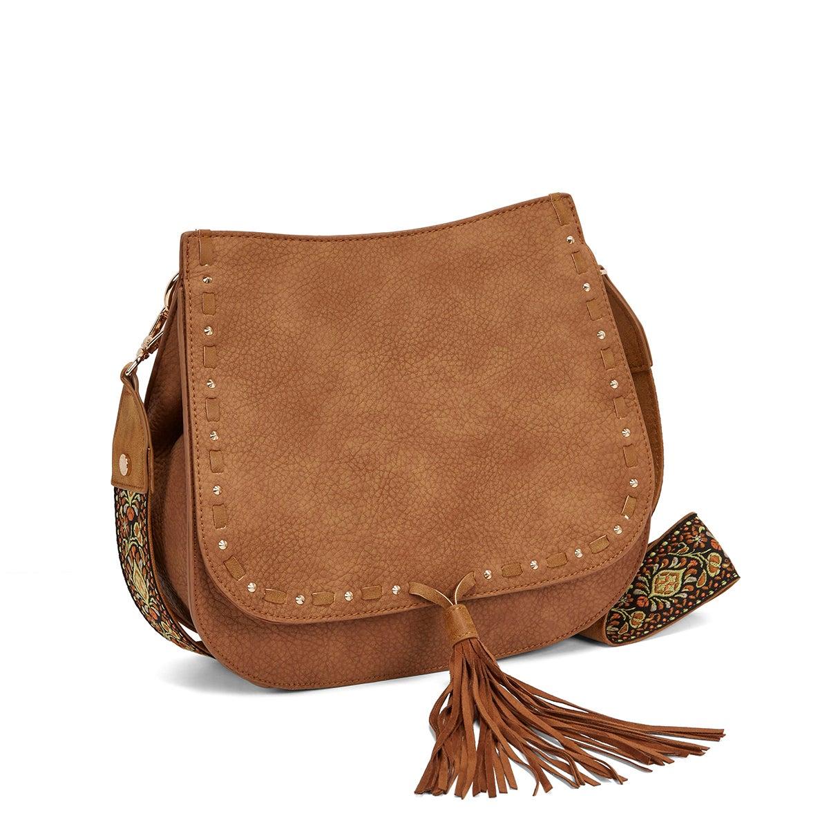 Lds BSwiss tan tassel saddle bag