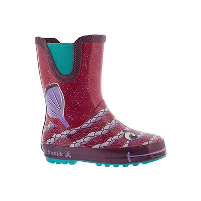 Infs-g Bubblez drk purple wtpf rain boot