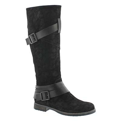 SoftMoc Women's BUFFY black buckle riding boots