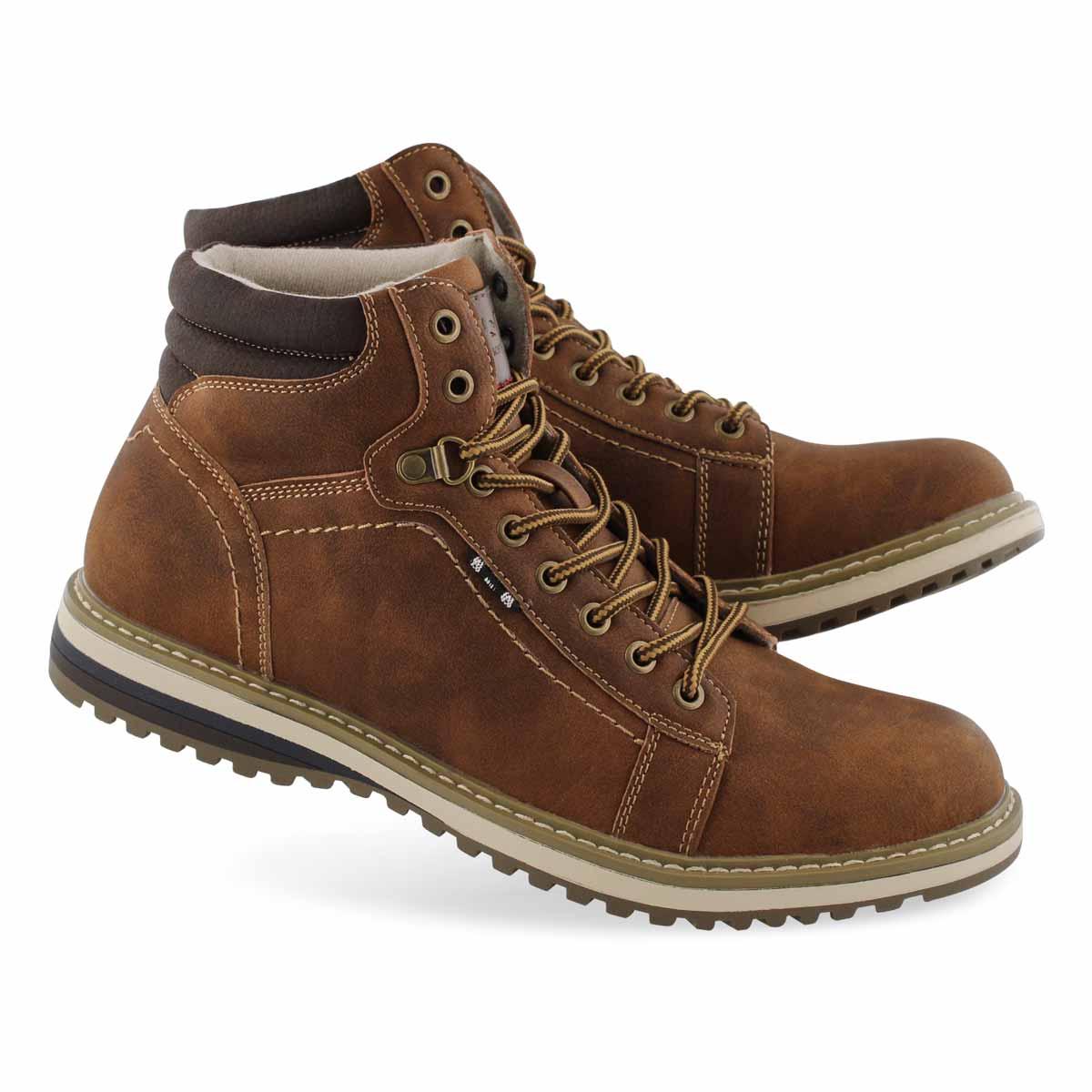 Mns Bulldozer cognac lace up ankle boot