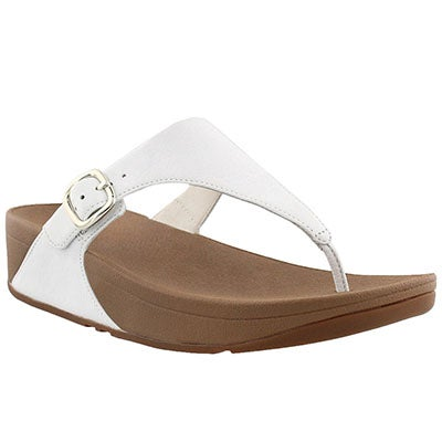 Lds Skinny wht side buckle thong sandal